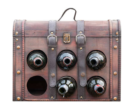 Vintage leather wine bag isolated on white background  photo
