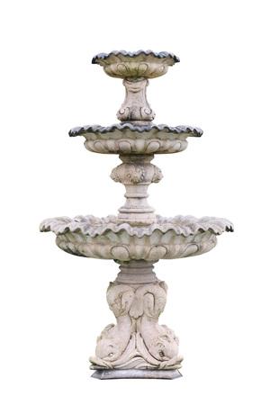 Vintage courtyard fountain isolated on white  Standard-Bild