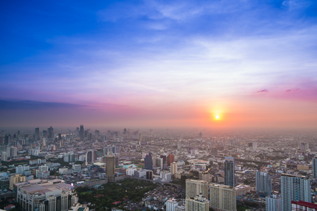 Aerial view of dramatic sunset in Bangkok, Thailand