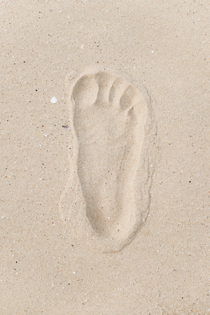 Human footprint on sand beach  Vacation concept photo