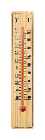 Wooden Thermometer with maximum temperature isolated on white with clipping path  Global warming concept photo