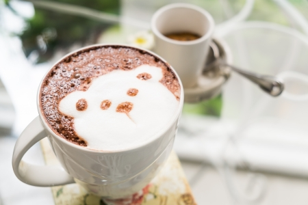 hot chocolate drink: Cute Bear Hot Chocolate drink in white mug