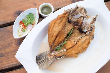 mango fish: Deep Fried Fish with Mango Sauce, Thai Food