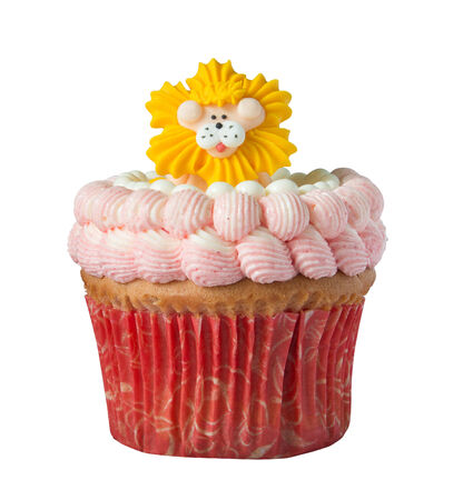 Cup Cake with Lion isolated on white with clipping path photo