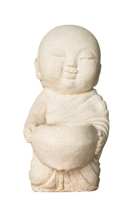cambodia sculpture: Sculpture of Buddhist Monk holding alms bowl isolated on white background with clipping path