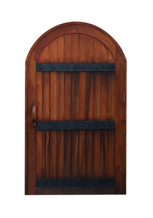 Arched Medieval Wooden Door isolated on white background with clipping path Stock Photo