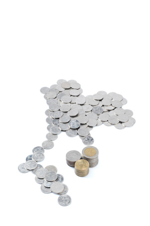 2 5: Thai Baht Coin in Thailand Map Shape with Stack of 2, 5 and 10 Baht Coin on white background