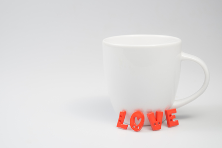 valentine day cup of coffee: LOVE Letters with White Coffee Cup for Valentine