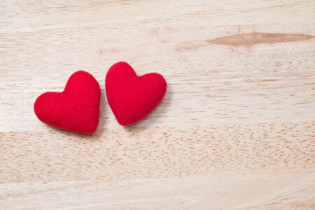 wooden table top view: Couple Red Heart on Wooden Table (Top View) for Valentine Stock Photo