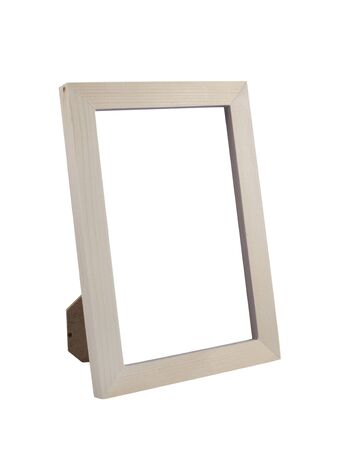 photo: Wooden Desktop Picture (Photo) Frame isolated on white background with clipping path