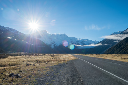 Mount Sefton against The Sun from Road to Aoraki Mount Cook, South Island, New Zealand Standard-Bild