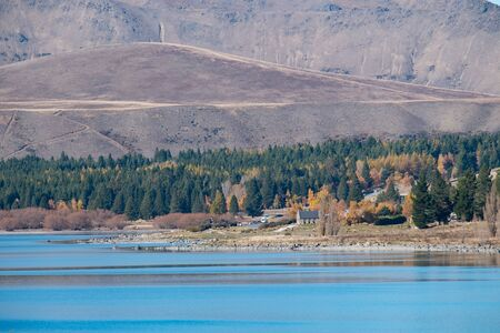 tekapo: Lake Tekapo and Church of the Good Shepherd from long range, South Island, New Zealand