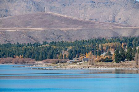 Lake Tekapo and Church of the Good Shepherd from long range, South Island, New Zealand