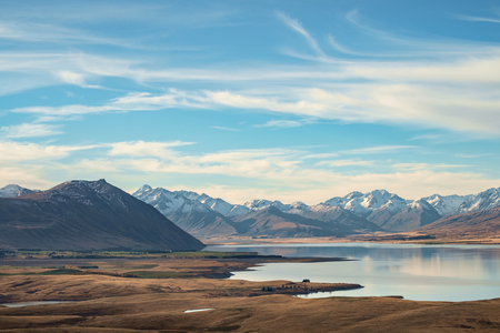 Lake Tekapo with Meadow and Mountain, South Island, New Zealand Standard-Bild