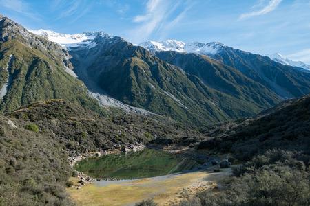 Blue Lake at Tasman Valley Walk Track, Aoraki, South Island, New Zealand Standard-Bild