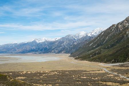 Mountain View from Tasman Valley Walk Track on Cloudy day, Aoraki, South Island, New Zealand Standard-Bild