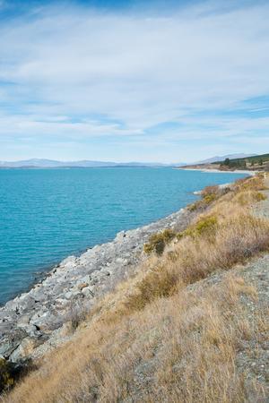 Lake Pukaki from Sideways Road to Aoraki Mount Cook on Cloudy day, South Island, New Zealand