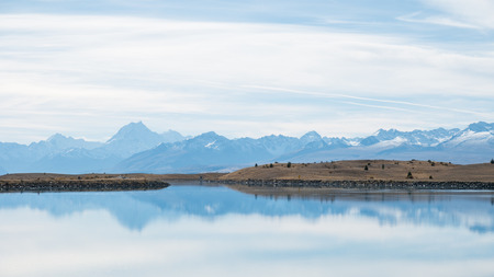 Blue Lake with Mount Cook Backdrop on Cloudy day, South Island, New Zealand Reklamní fotografie