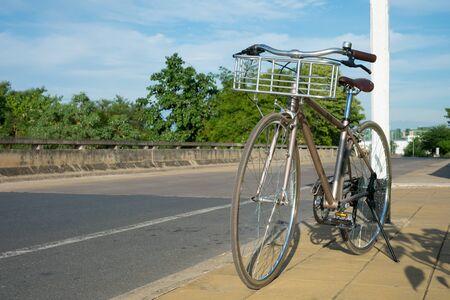 Vintage Bike on Street Paving, Sport or Recreation concept