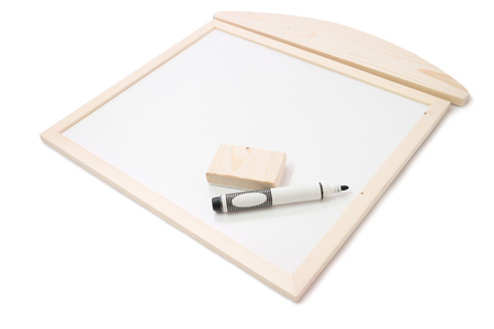 Pen and Eraser on Blank Wooden Whiteboard on white background