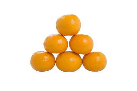 Pile of Six Orange Fruit isolated on white background with clipping path