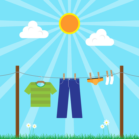 Young Man Laundry hanging on Clothesline on Sunny Day Vector