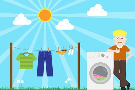 Man finished washing Laundry with Washing Machine on Sunny Day Vector