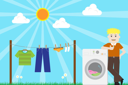 Man finished washing Laundry with Washing Machine on Sunny Day Vector
