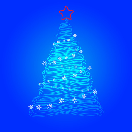 Line Christmas Tree with Snowflake and Red Star on Blue Background. Holiday Vector Card