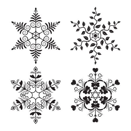 Vintage Design Snowflake Vector for Christmas and New Year Decoration