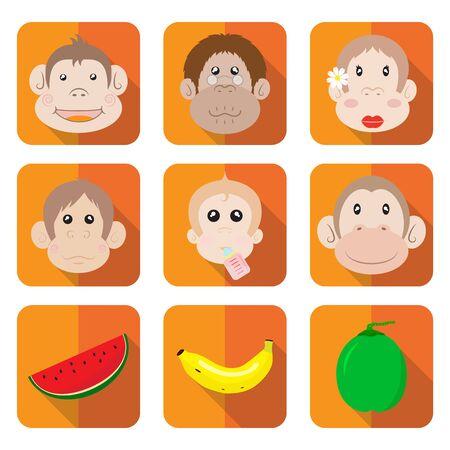 Happy Monkey Family Icon Cartoon Set Vector