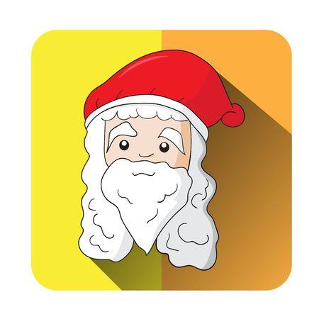 Smile Santa Claus Head Icon Vector, Cartoon Hand Drawn for Christmas