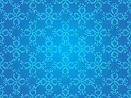 Blue Heart Vintage Line Art Vector Seamless Pattern Background