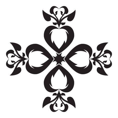Heart Vintage Art Design Snowflake Vector for Christmas and New Year Decoration