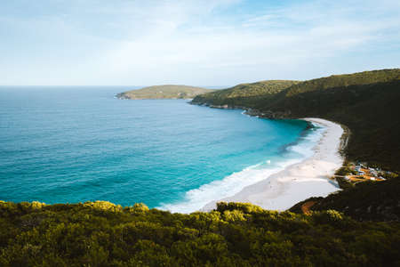 An isolated beach in Albany, Australia. Perfect summer weather with a beautiful blue ocean and quiet beach.