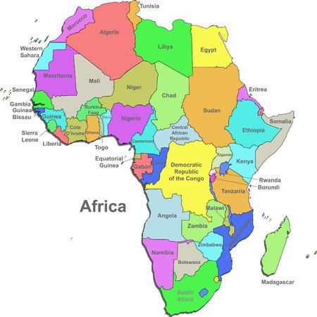 Kleur kaart van Afrika met landen op een witte achtergrond Vector Illustratie