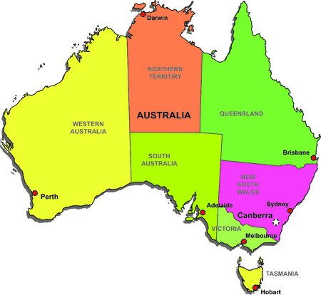Color map of Australia with regions on a white background Illustration