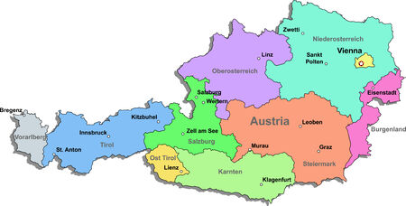Color Austia map with regions on a white background Illustration
