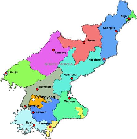 south east asia: Mappa della Corea del Nord