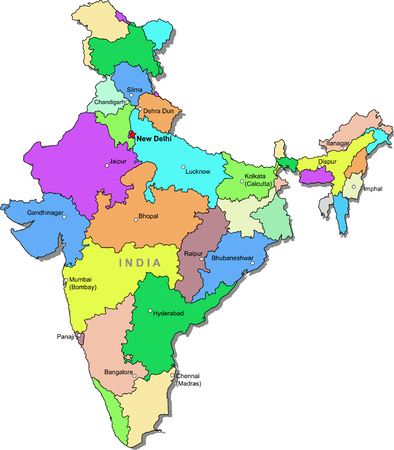 Color India map Illustration