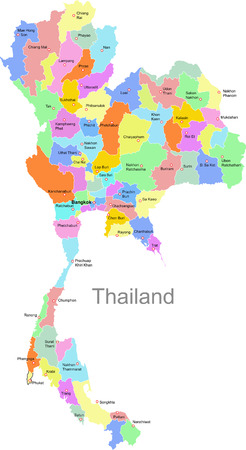 south east asia: Mappa di Thailandia  Vettoriali