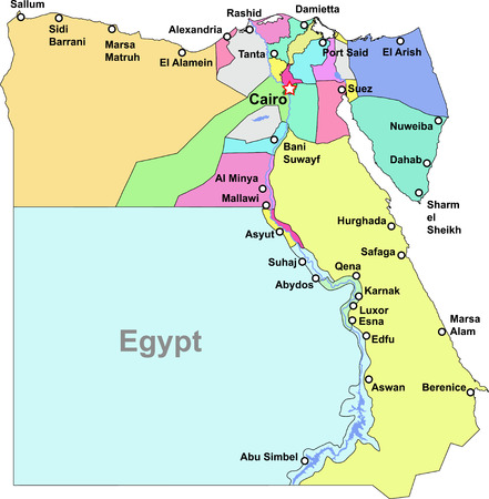 Color Egypt map with regions over white