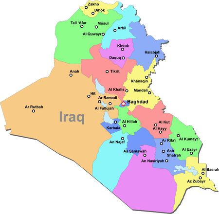 Color Iraq map with regions over white