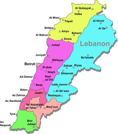 Mapa de Líbano de color con regiones sobre blanco  Ilustración de vector