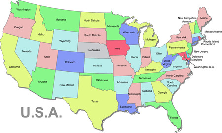 Color U.S.A map with states over white Illustration