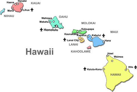 Color Hawaii map isolated over white