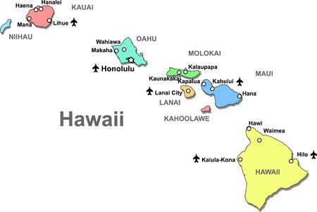 hawai: Mapa de Hawaii de colores aislado sobre blanco
