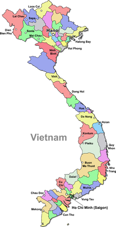 Color Vietnam map isolated over white