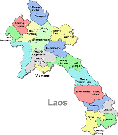 Color Laos map isolated over white