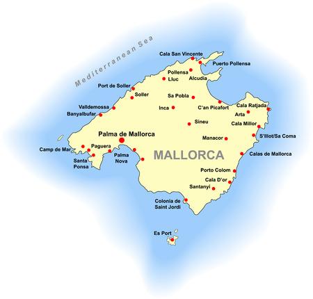 onbepaalde: Mallorca kaart  Stock Illustratie